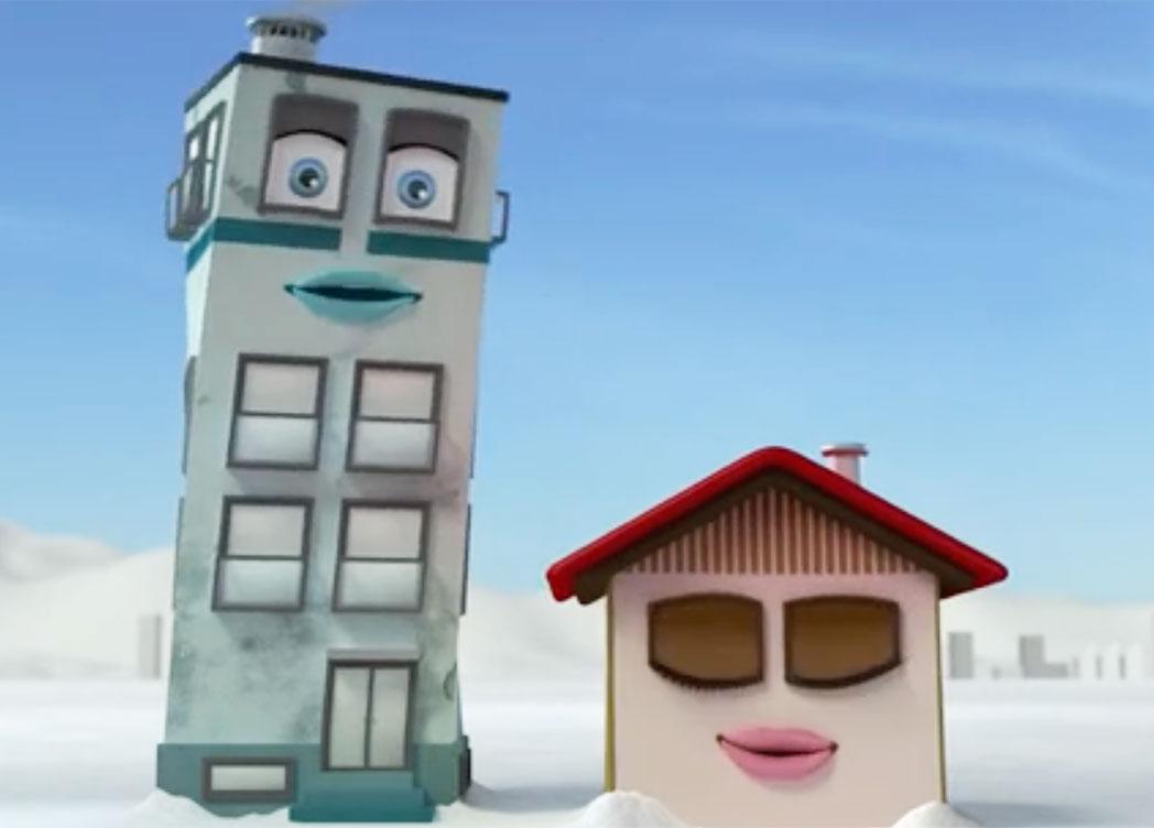 Animirani stavbi iz telopa od podjetja Knauf Insulation